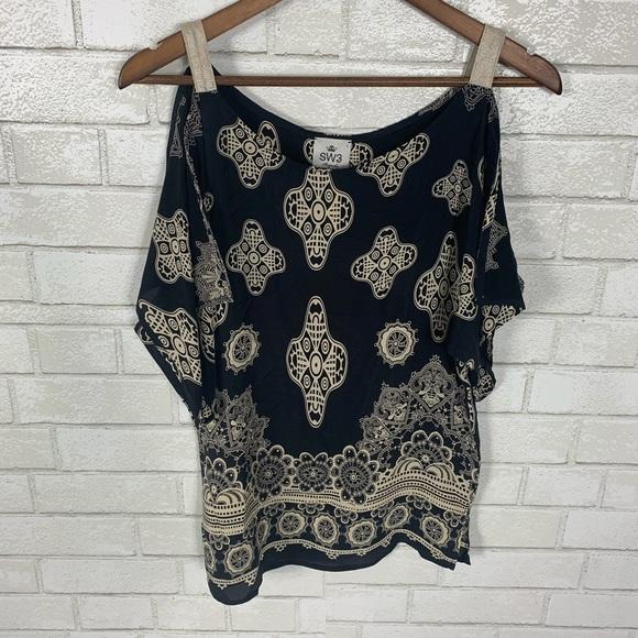 SW3 bespoke black silk blouse open shoulder